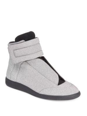 Maison Margiela High-top Glitter Sneakers In Silver