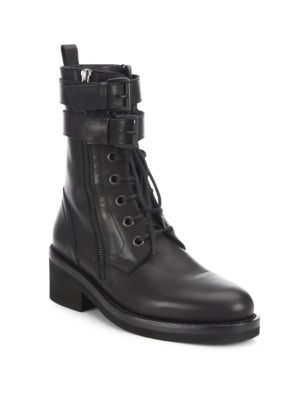 Ann Demeulemeester Leather Combat Boots In Black