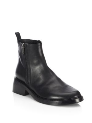 Ann Demeulemeester 50mm Double Zips Leather Ankle Boots In Black