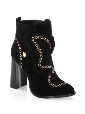 Sophia Webster Karina Faux Shearling-trimmed Embellished Suede Ankle Boots In Black