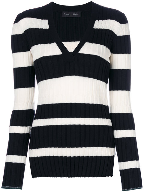 Proenza Schouler Black & White Striped V-neck Knitted Top In Black/white