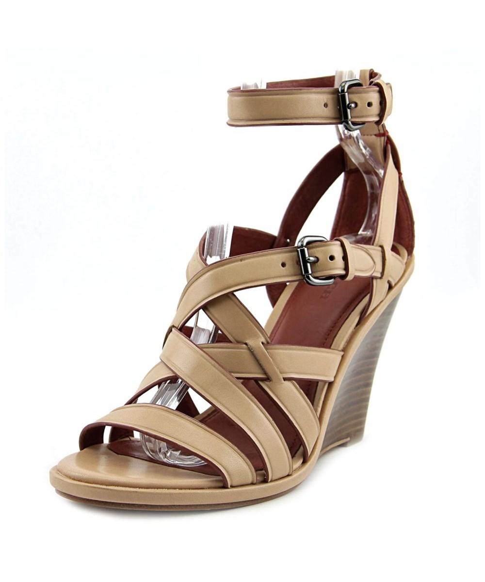 Coach Dawn   Open Toe Leather  Wedge Sandal In Khaki