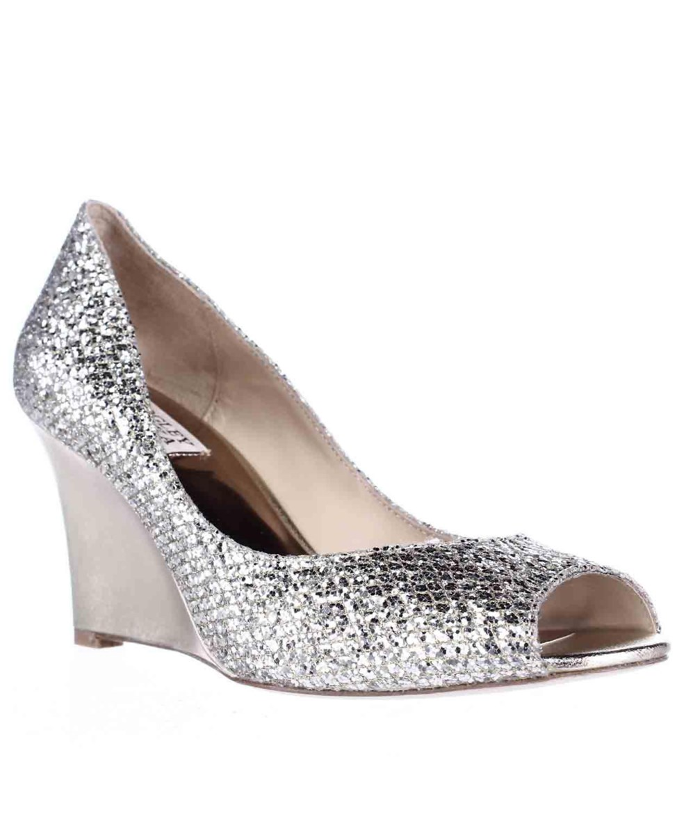 Badgley Mischka Awake Wedge Peep Toe Dress Pumps, Platinum Glitter In Gold