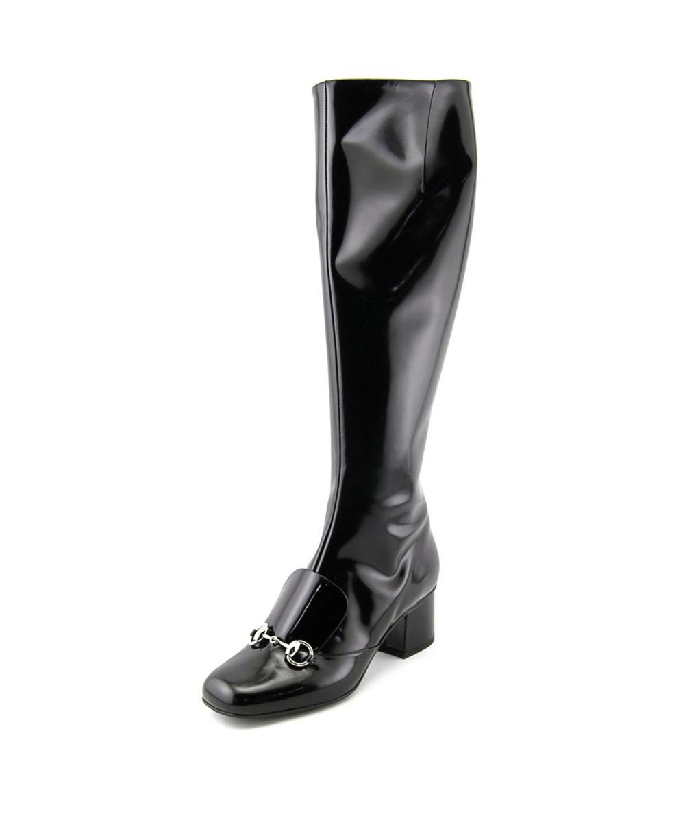 Gucci Regent Women  Square Toe Patent Leather Black Knee High Boot