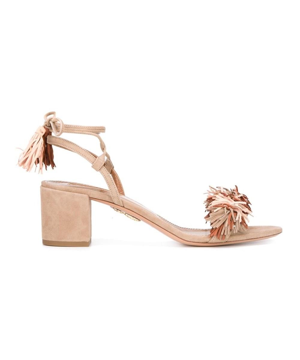 Aquazzura Women's  Pink Suede Sandals