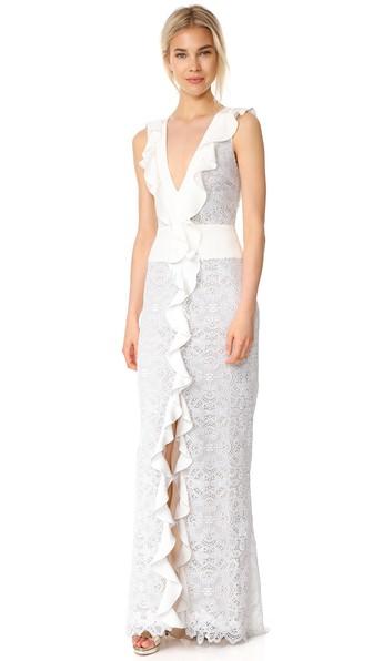 Monique Lhuillier Sleeveless Ruffle V Neck Gown In Silk White