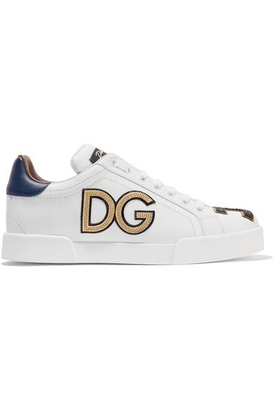 Dolce & Gabbana Logo-appliquÉd Leather Sneakers In White