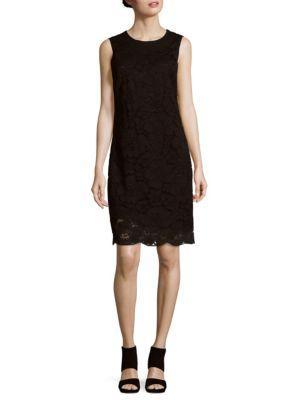 Karl Lagerfeld Burnout Velvet Shift Dress W/ Flounce In Black