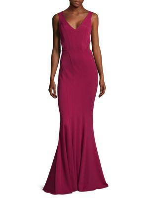 Zac Posen V-neck Sleeveless Dress In Sangria