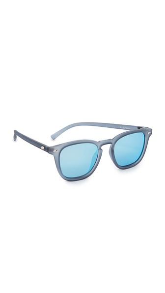 Le Specs No Biggie Mirrored Square Sunglasses, 49mm In Slate Rubber/ice Blue Revo