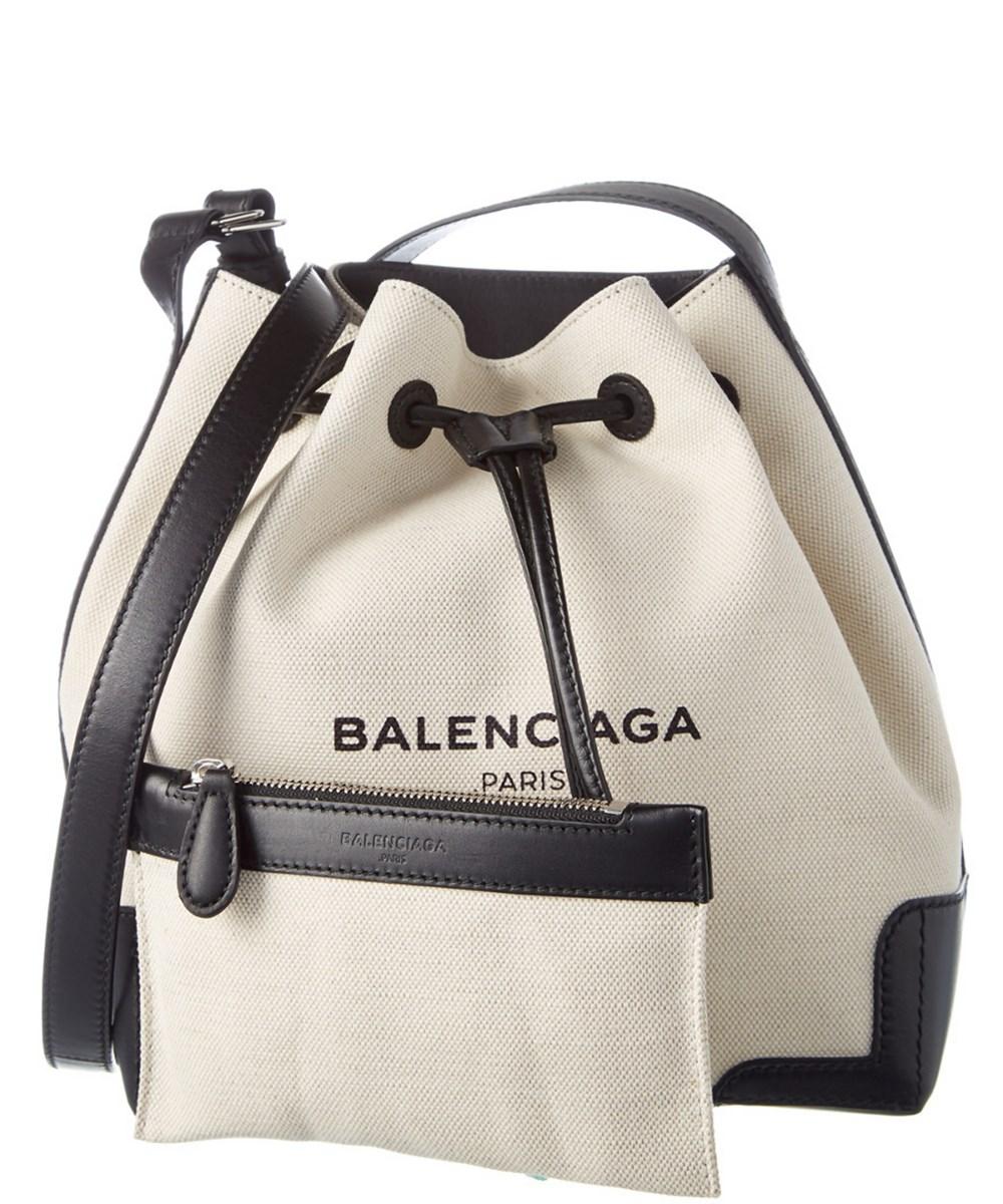 Balenciaga Navy Small Canvas Amp Leather Bucket Bag In Multi Modesens