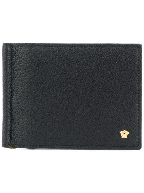 Versace Black Grained Leather Wallet In D41oh