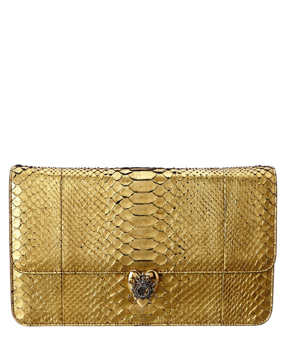 Alexander Mcqueen Metallic Python Heart Clutch In Gold