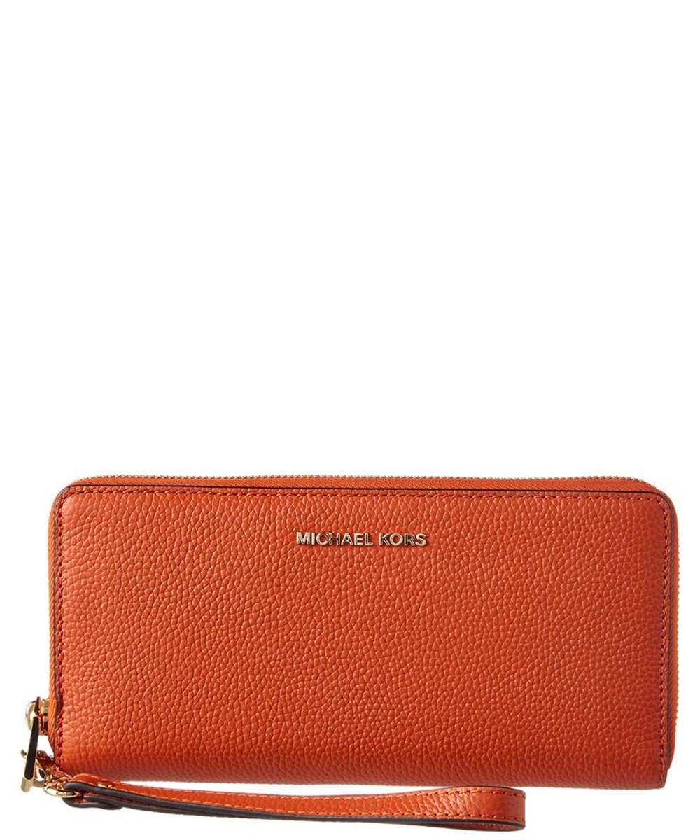 Michael Kors Michael  Mercer Leather Travel Continental Wallet In Orange