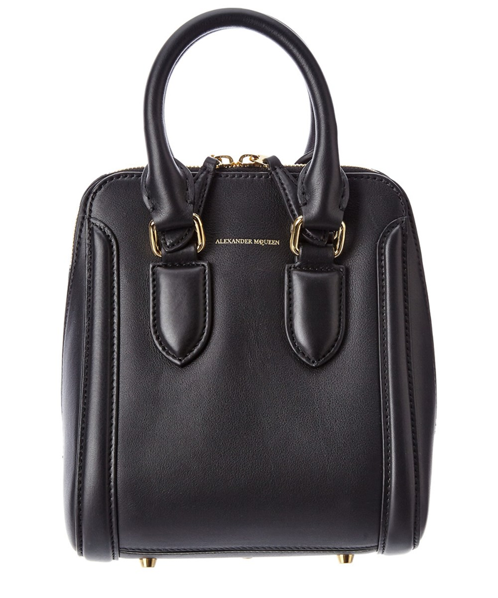 Alexander Mcqueen Heroine Small Leather Satchel In Black