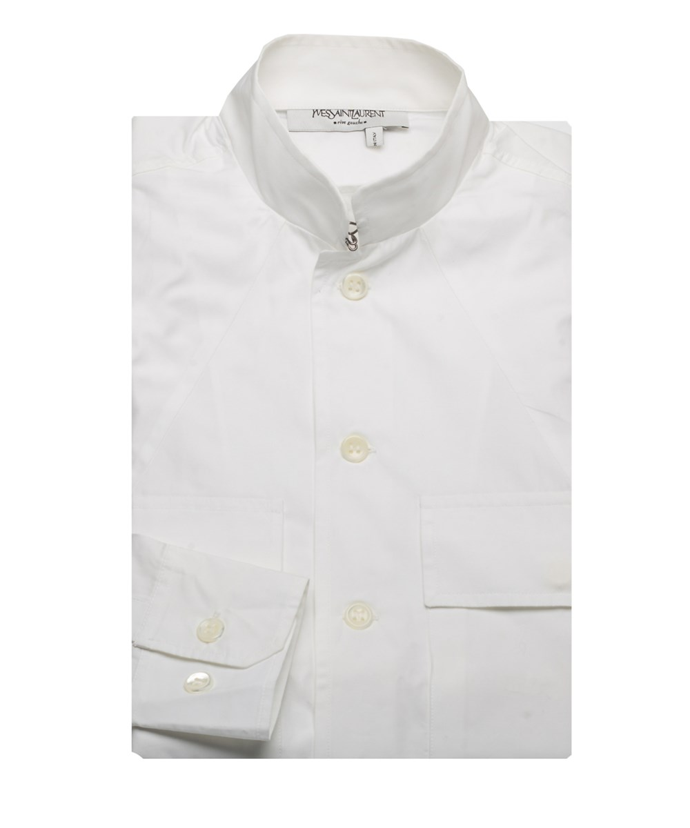 Saint Laurent Yves  Men's Cotton Hook Collar Dress Shirt White