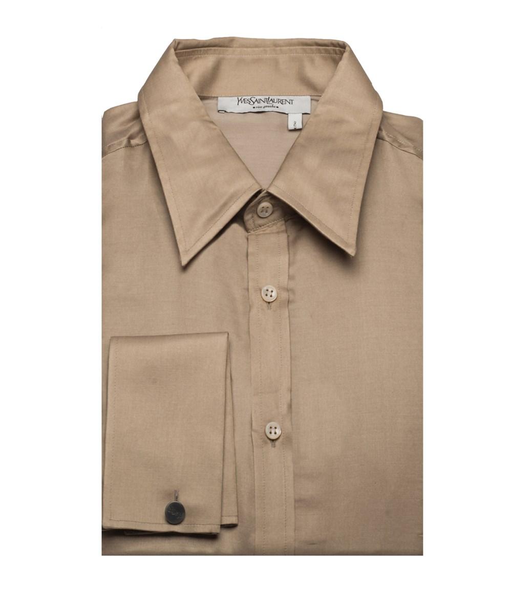 Saint Laurent Yves  Men's Cotton Silk Point Collar Dress Shirt Tan In Brown