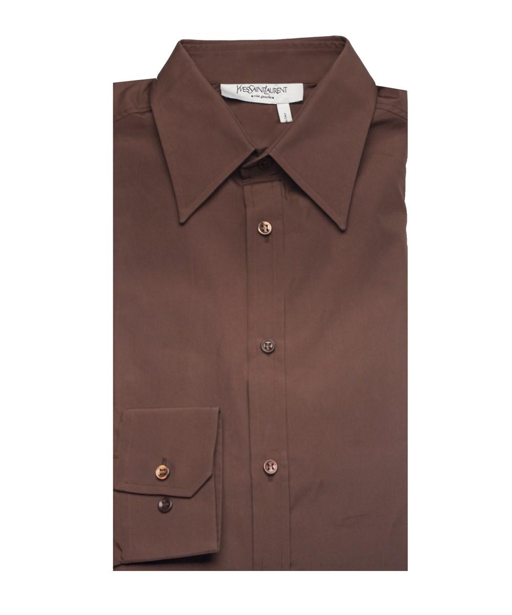 Saint Laurent Yves  Men's Cotton Point Collar Dress Shirt Dark Brown