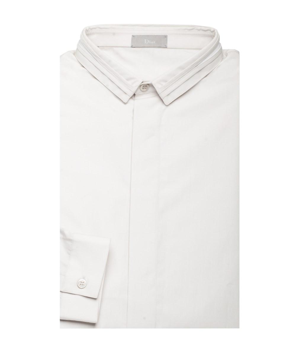 Dior Homme Men's Split Collar Cotton Dress Shirt Grey White