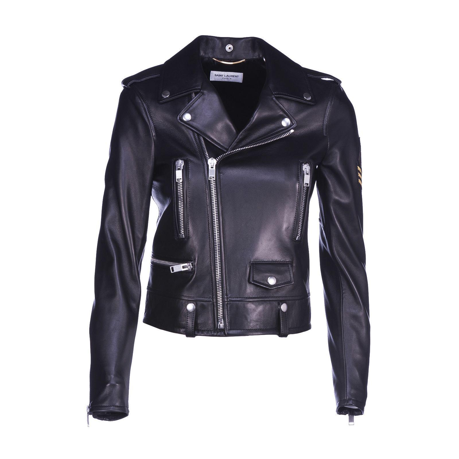 Saint Laurent Embroidered Patch Biker Jacket In Black