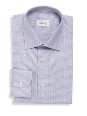 Brioni Long Sleeve Slim-fit Dress Shirt In Blue Red