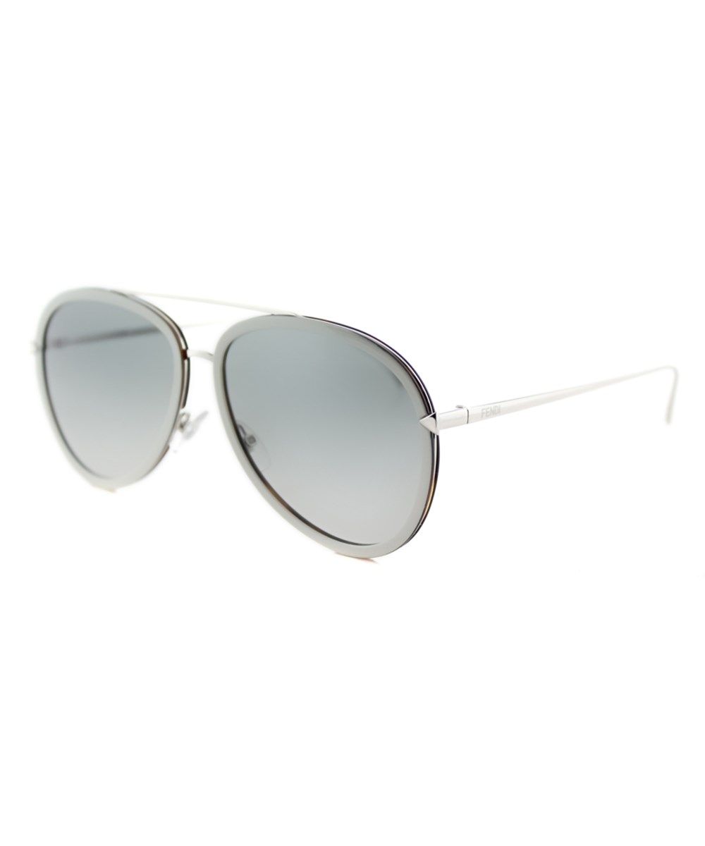 Fendi Funky Angle Aviator Metal Sunglasses In White