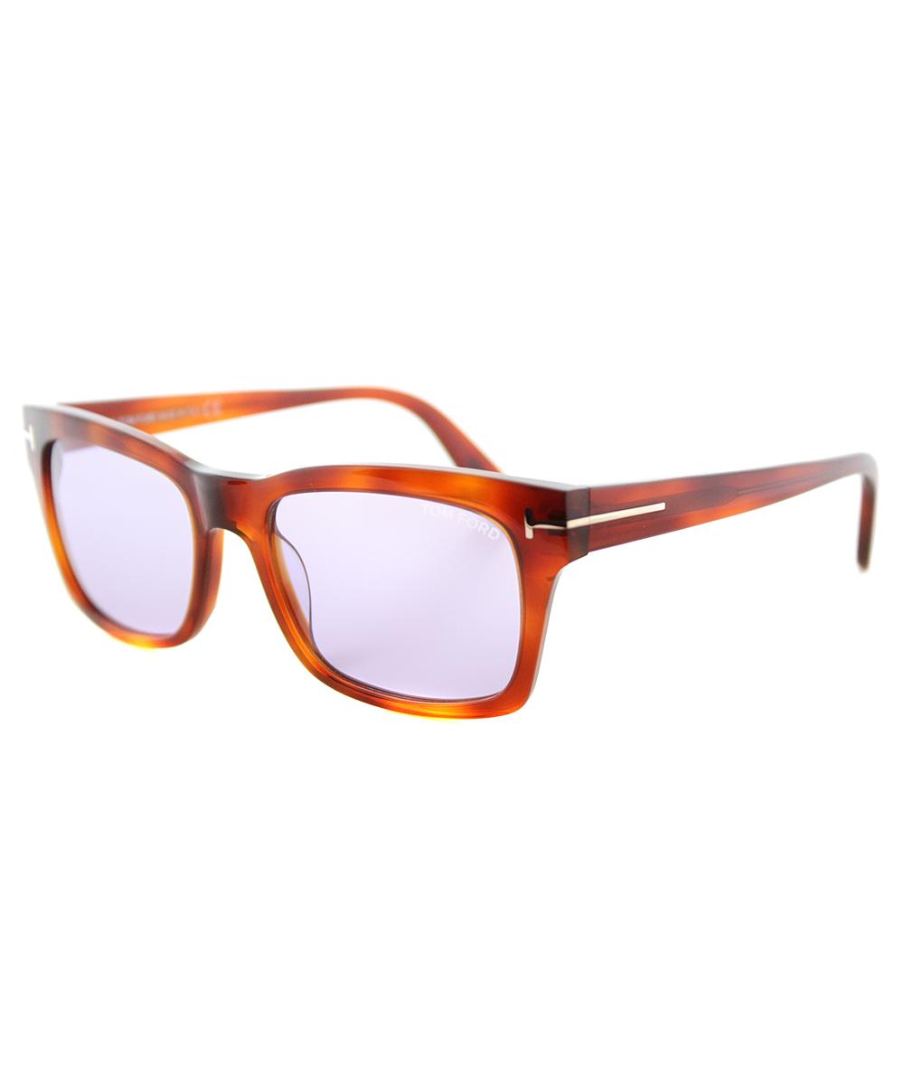 Tom Ford Rectangle Plastic Sunglasses In Havana Blue