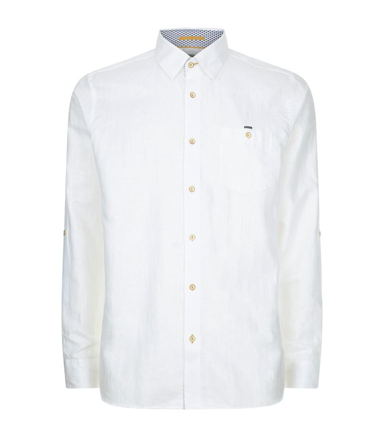 Ted Baker Linen Regular Fit Button-down Shirt In White