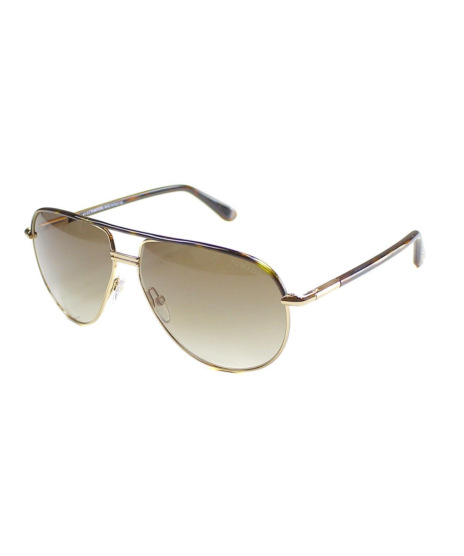 Tom Ford Cole Pilot Metal Sunglasses In Dark Havana Gold