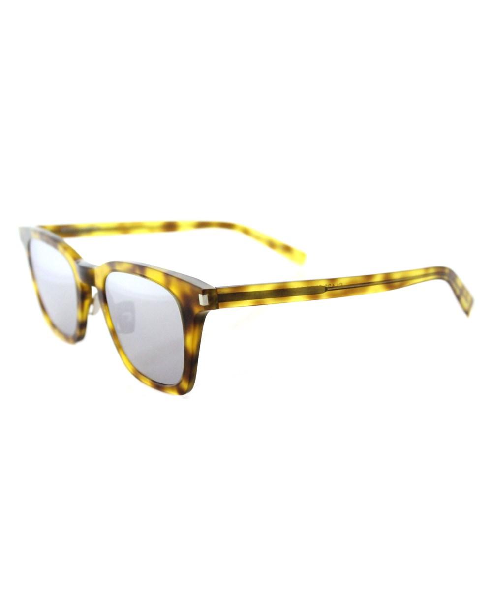 Saint Laurent Sl 138 Slim-004 Havana Square Sunglasses' In Brown
