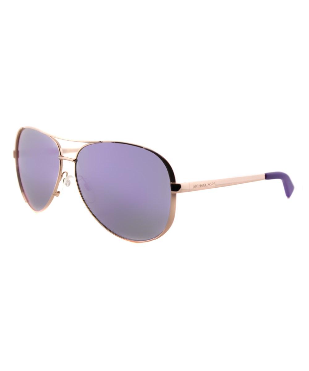Michael Kors Chelsea Aviator Metal Sunglasses In Gold