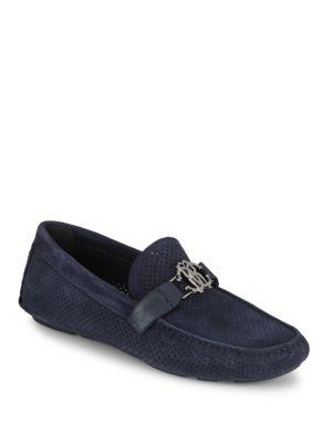 Roberto Cavalli Perforated Leather Moccasins In Blue