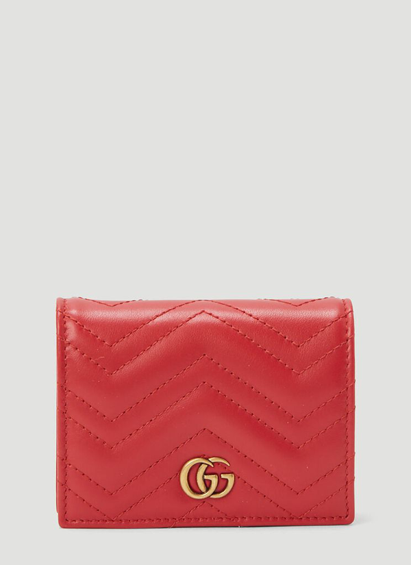 Gucci Gg Marmont Card Case Wallet In Red