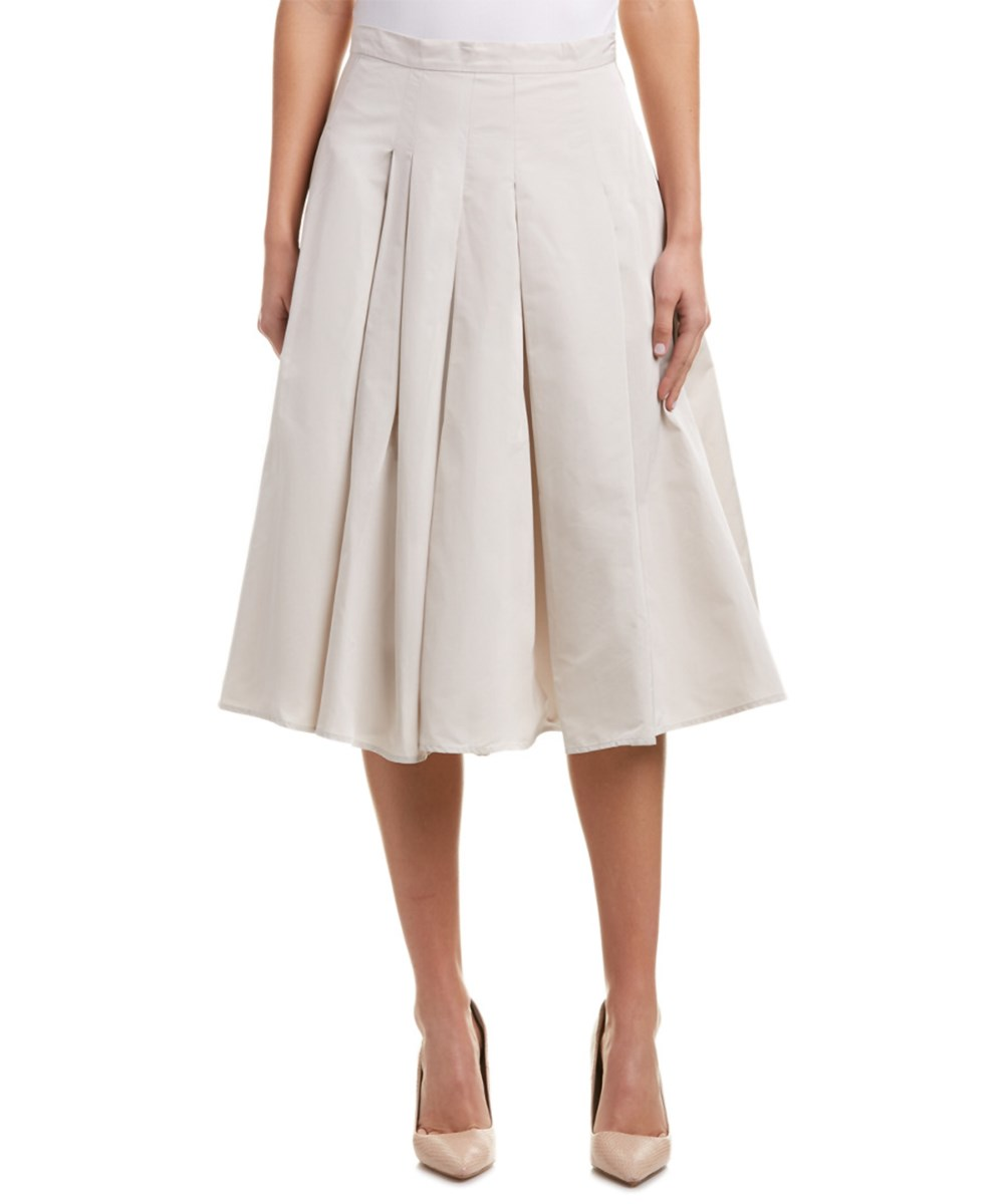 Max Mara `s Maxmara Silk-blend A-line Skirt In Khaki