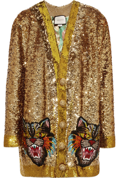 Gucci Reversible AppliquÉd Sequined Satin Cardigan In Gold