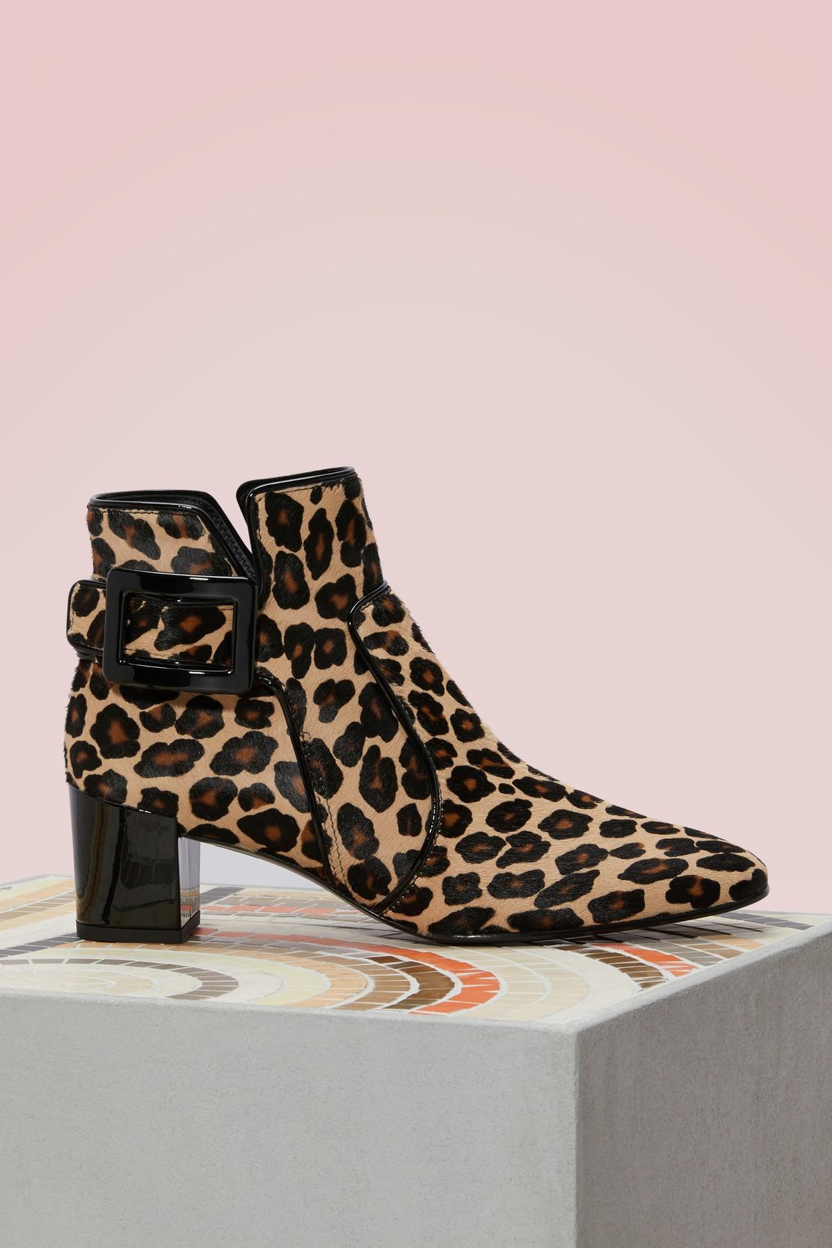 Roger Vivier Polly Ankle Boots In Ponyskin-effect Leather In Pony Leopard