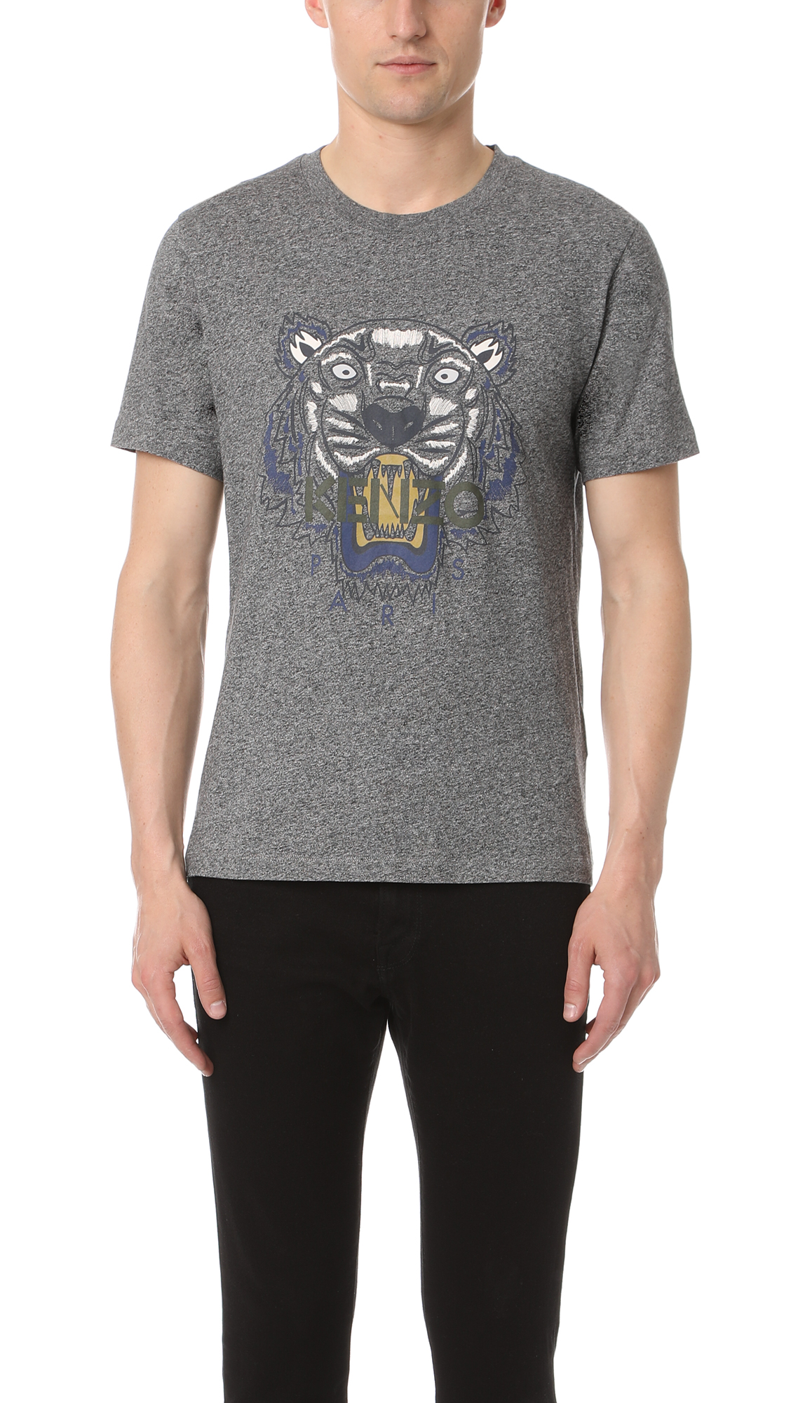 Kenzo Tiger Printed Cotton Jersey T-shirt In Anthracite