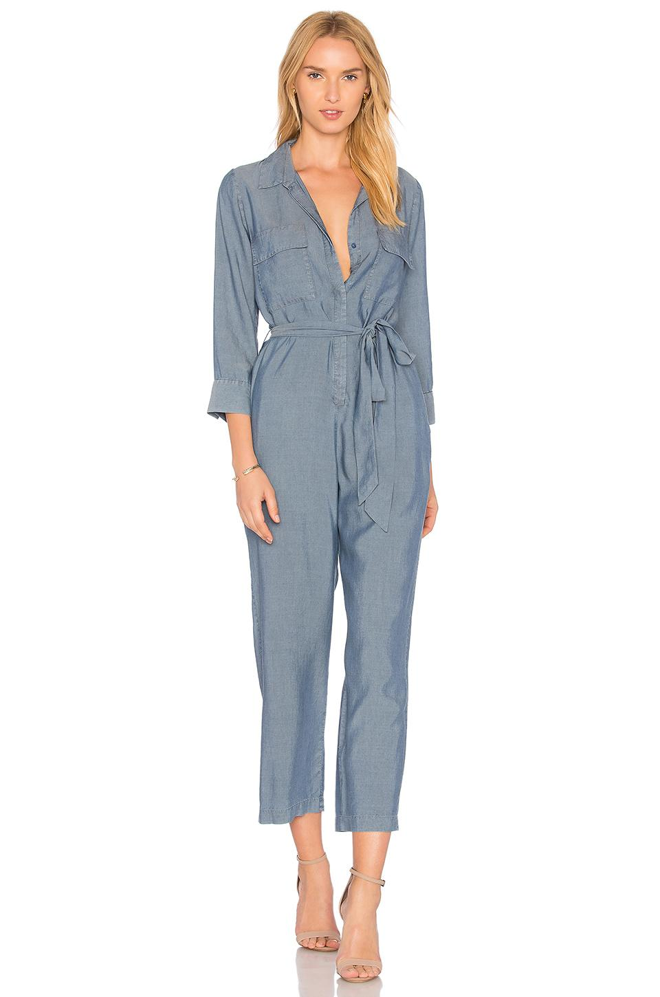 L Agence Delia 3/4 Sleeve Jumpsuit In Pacific