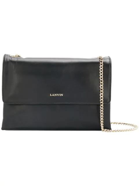 Lanvin Sugar Medium Leather Shoulder Bag In Black
