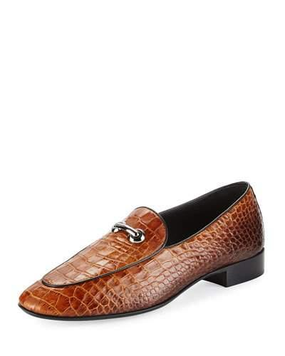 Giuseppe Zanotti Croc-embossed Leather Bit Loafer In Brown