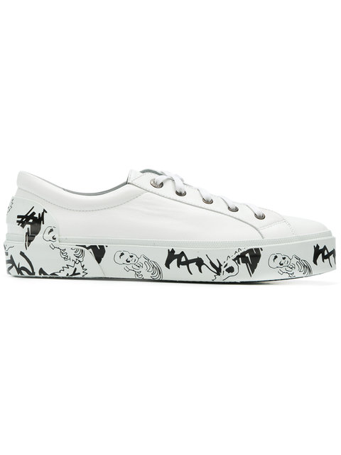 Lanvin Printed Sole Leather Sneakers In White