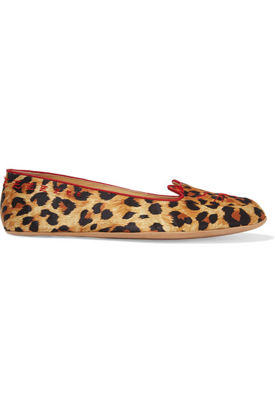 Charlotte Olympia + Agent Provocateur Wild Cat Naps Embroidered Satin Slippers In Leopard