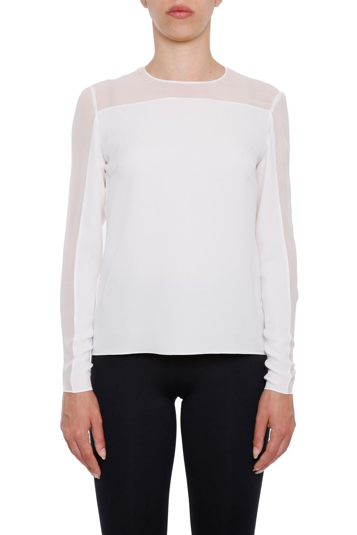 Tom Ford Silk Blouse In Chalk|bianco