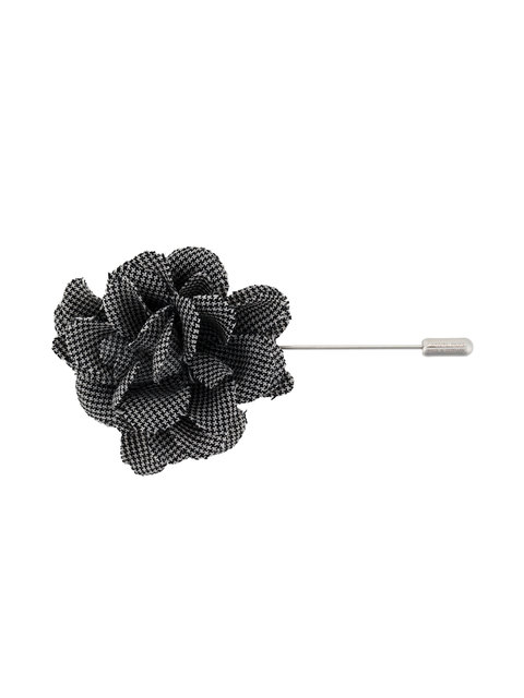 Lanvin Patterned Flower Brooch In Black