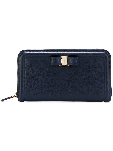 Salvatore Ferragamo Zip Purse In Blue
