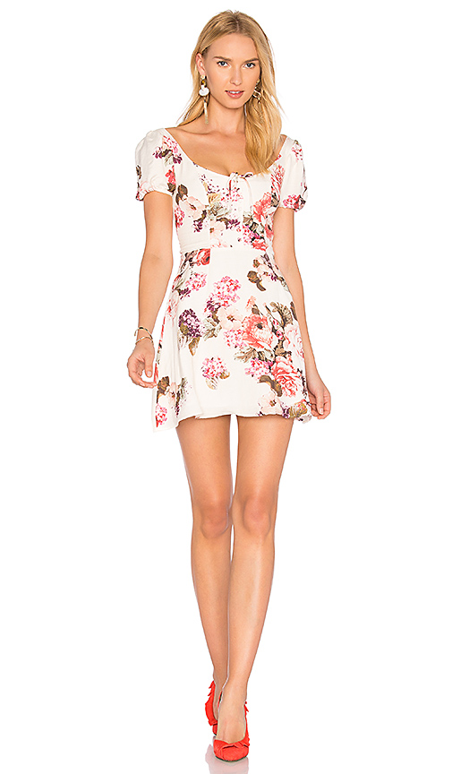 Lpa Floral-printed Linen And Cotton Dress In Beige