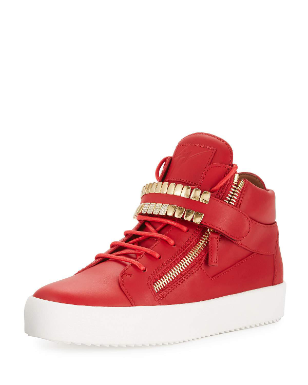 Giuseppe Zanotti Men's Double-grid Leather Mid-top Sneakers In Red