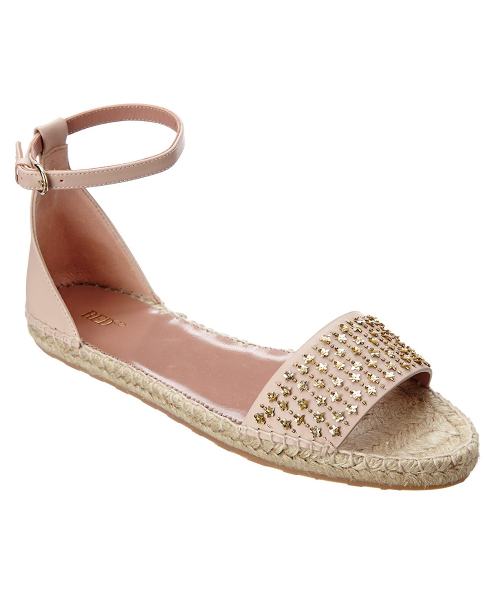 Red Valentino Embellished Leather Espadrille Sandal In Nude