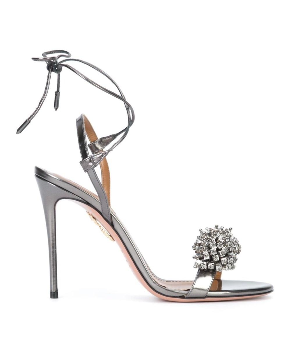 ffe3cbc8102 Aquazzura Women's Silver Patent Leather Sandals