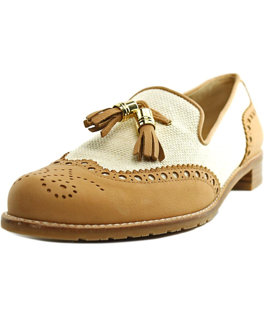 Stuart Weitzman Guything Women  Round Toe Leather Tan Loafer' In Khaki